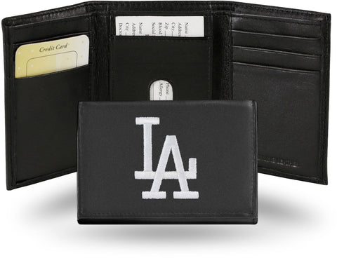 Los Angeles Dodgers Mens Embroidered Leather Trifold Wallet