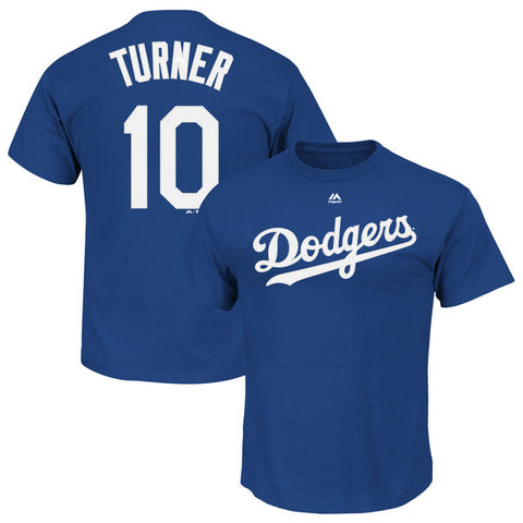 Los Angeles Dodgers Mens T-Shirt #10 Turner Name & Number Blue