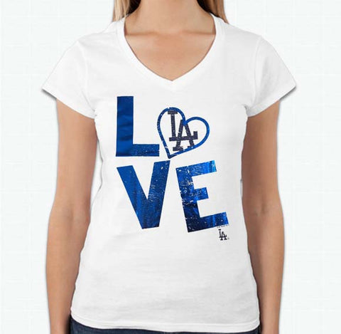 Los Angeles Dodgers Womens T-Shirt G-III 4Her LOVE V-Neck White