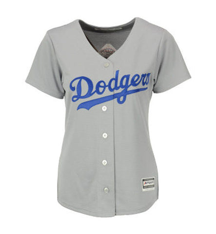Los Angeles Dodgers Womens Cool Base Majestic Jersey Grey