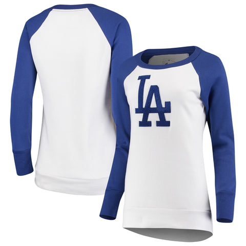 Los Angeles Dodgers Womens Top Ranking Tunic Raglan Crew Pullover Sweatshirt