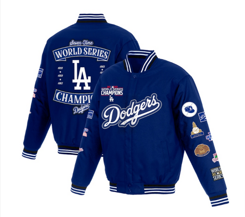 Los Angeles Dodgers Mens Jacket 7X World Series Champions Poly-Twill Full-Snap with Embroidered Logos
