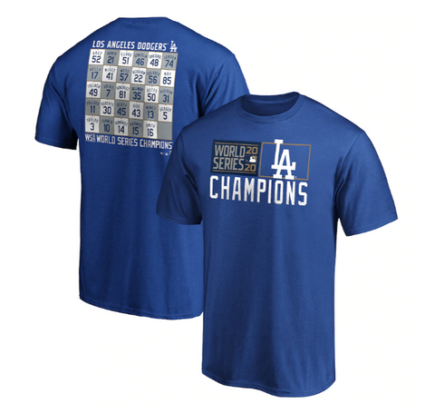 Los Angeles Dodgers Mens Fanatics 2020 World Series Champions Roster T-Shirt