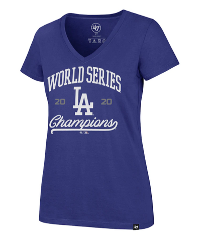 Dodgers Womens '47 Brand World Series Champions Rival V-Neck T-Shirt