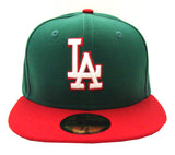 Los Angeles Dodgers Fitted New Era 59Fifty Logo Cap Hat Mexico Colors Green Red Grey Bottom