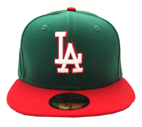 Los Angeles Dodgers Fitted New Era 59Fifty Logo Cap Hat Mexico Colors Green Red