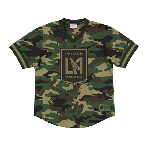 Los Angeles FC Mens Mitchell & Ness Camo Mesh V-Neck Jersey