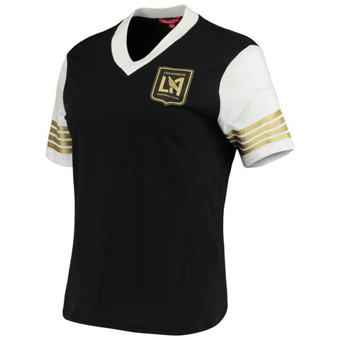 Los Angeles FC Womens T-Shirt Mitchell & Ness Black MVP Short Sleeve V-Neck
