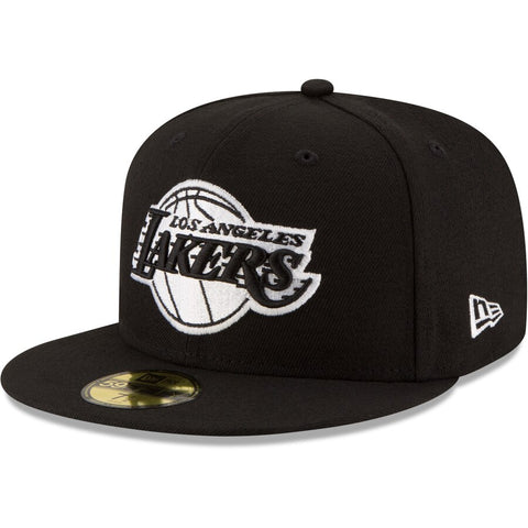 Los Angeles Lakers Fitted New Era 59FIFTY Black & White Logo Black Cap Hat