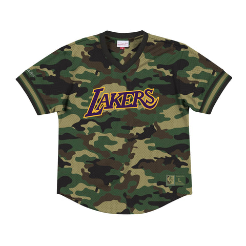 huge discount 9b989 c24df Los Angeles Lakers Mens Mitchell   Ness Camo Mesh V-Neck Jersey
