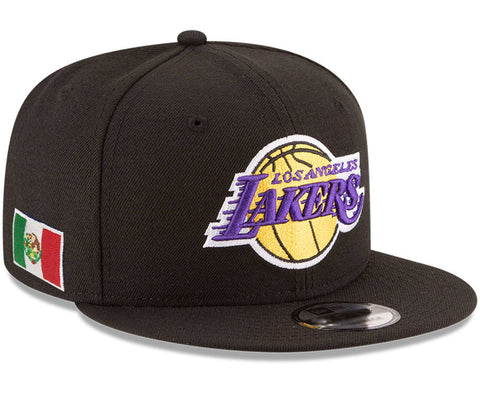 Los Angeles Lakers Fitted New Era 59Fifty Mexico Flag Black Cap Hat