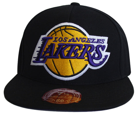 Los Angeles Lakers Fitted Mitchell & Ness Logo Black Cap Hat