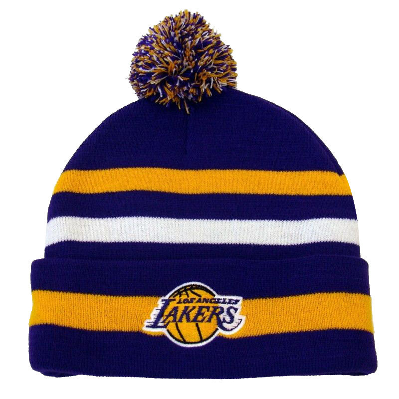 b60d41f7d50 Los Angeles Lakers Beanie NBA Free Throw Embroidered Pom Fold Cap ...