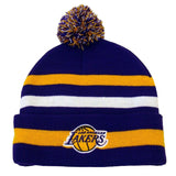 Los Angeles Lakers Beanie NBA Free Throw Embroidered Pom Fold Cap Hat