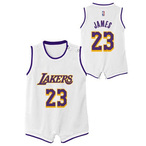2defa30e5a9 Los Angeles Lakers Infant Lebron James Romper Jersey White