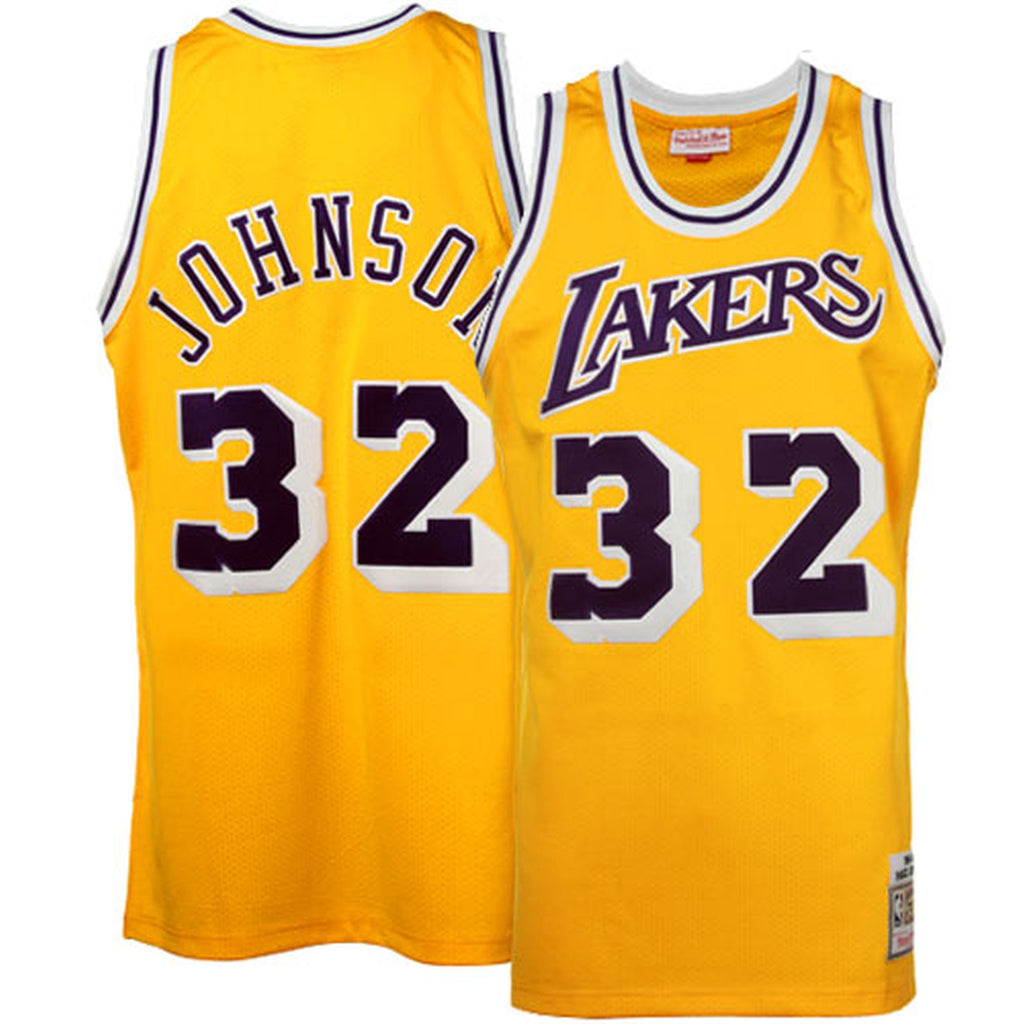 reputable site 96ef1 f01ec Los Angeles Lakers Mens Jersey Mitchell & Ness #32 Magic Johnson Authentic  Yellow