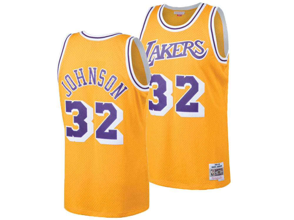 outlet store 46094 420f7 Los Angeles Lakers Mens Jersey Mitchell & Ness #32 Magic Johnson Swingman  Yellow