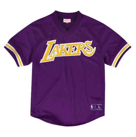 Los Angeles Lakers Mens Jersey Mitchell & Ness Mesh V-Neck Satin Purple
