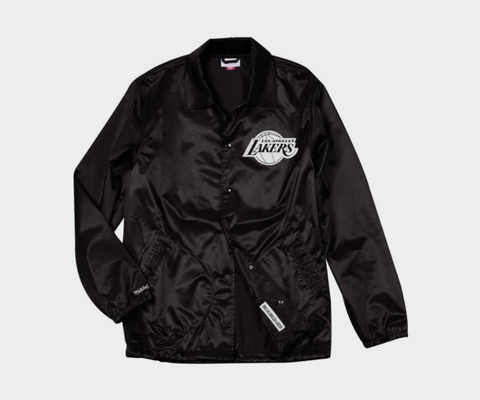 Los Angeles Lakers Mens Mitchell & Ness Satin Coaches Jacket Black