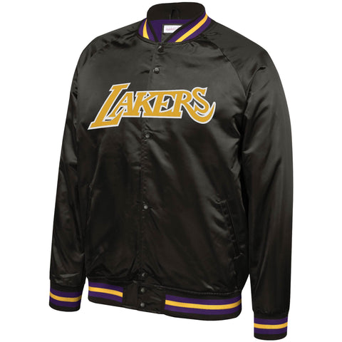 Los Angeles Lakers Mens Jacket Mitchell & Ness Light Satin Black