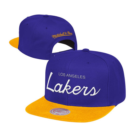 Los Angeles Lakers Snapback Mitchell & Ness Script Cap Hat Purple Yellow