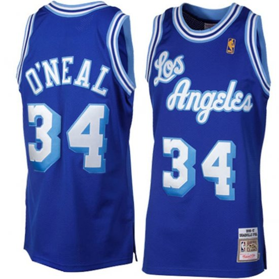 Los Angeles Lakers Mens Jersey Mitchell & Ness #34 Shaquille O'Neal Royal