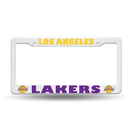 Los Angeles Lakers White Plastic License Plate Frame
