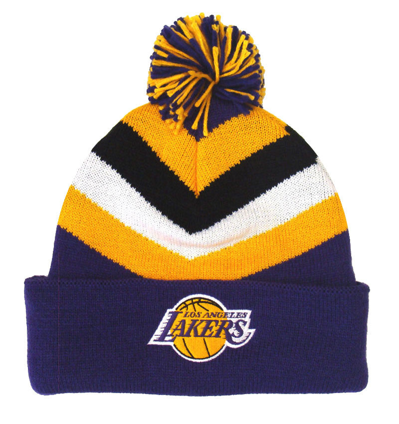 Los Angeles Lakers Beanie Mitchell   Ness V Stripe Cuffed Pom Knit ... 4148b7763e5
