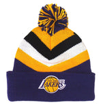 Los Angeles Lakers Beanie Mitchell & Ness V Stripe Cuffed Pom Knit Hat