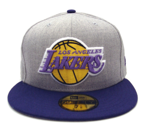 Los Angeles Lakers Fitted New Era 59Fifty Heather Grey Cap Hat Wool Purple