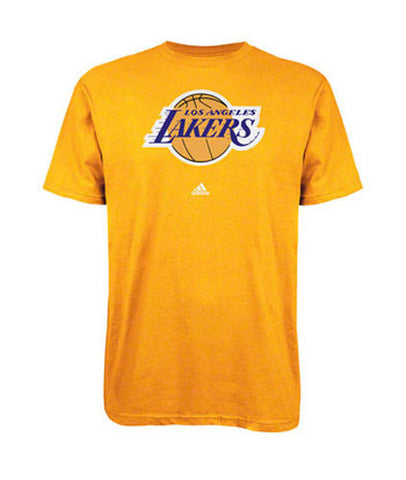 Los Angeles Lakers Mens T-Shirt Adidas Logo Yellow SIZE 2XL