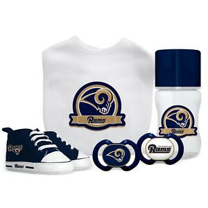 Los Angeles Rams Baby Essentials 5 Piece Infant Gift Set New