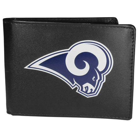 Los Angeles Rams Mens Embroidered Leather Bi-fold Wallet