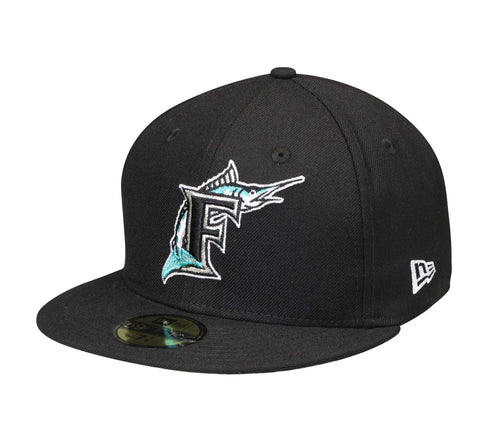 Miami Marlins Fitted New Era 59Fifty Logo Black Cap Hat