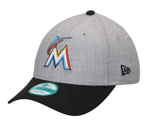 Miami Marlins Velcro New Era 9Forty Adjustable The League Heather Cap Hat