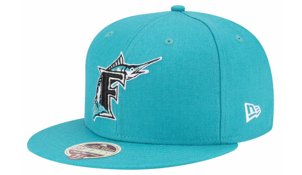 reputable site 5f4fc 6f5cc cheap florida marlins fitted new era 59fifty teal cap hat 1eff7 93e34