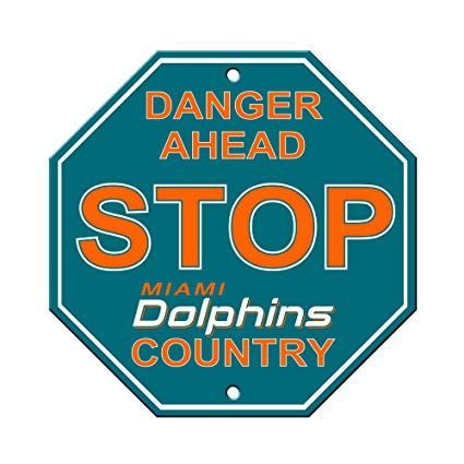 Miami Dolphins Bar Home Decor Plastic Stop Sign
