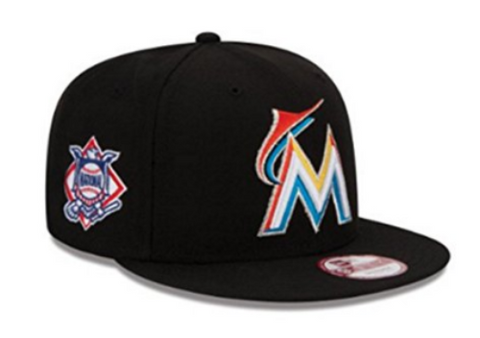 Miami Marlins Snapback New Era Baycik Cap Hat Black