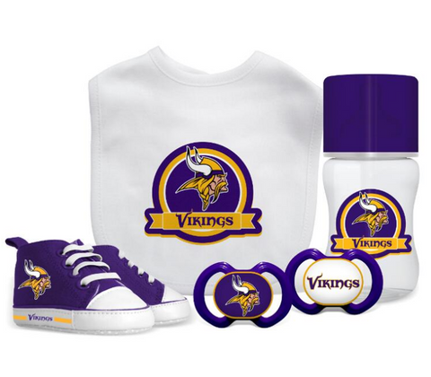 Minnesota Vikings Baby Essentials 5 Piece Infant Gift Set New