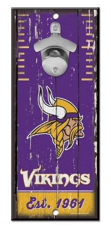Minnesota Vikings 5x11 Wood Bottle Opener Sign