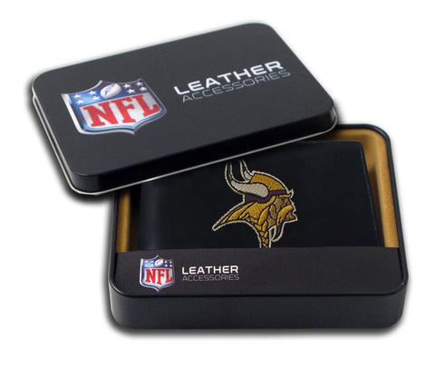 Minnesota Vikings Mens Embroidered Leather Bi-fold Wallet