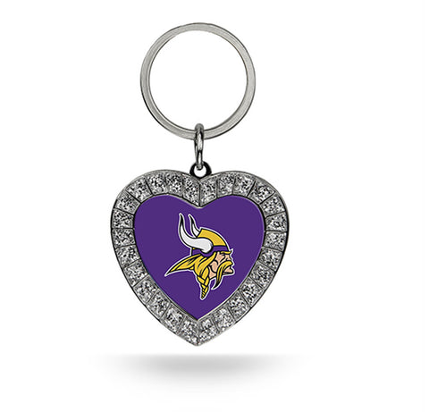 Minnesota Vikings Rhinestone Heart Key Chain