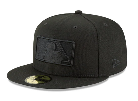 Major League Baseball MLB Fitted Logo Black on Black Hat Cap