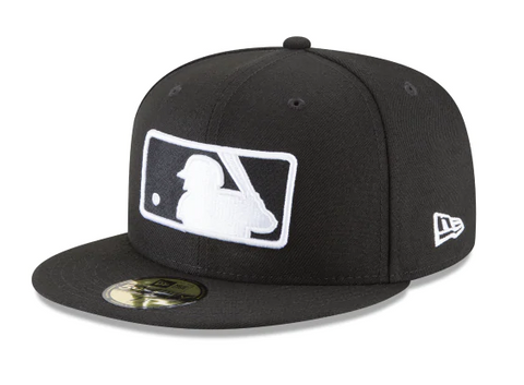 Major League Baseball MLB Fitted Black & White Logo New Era Cap Hat Black