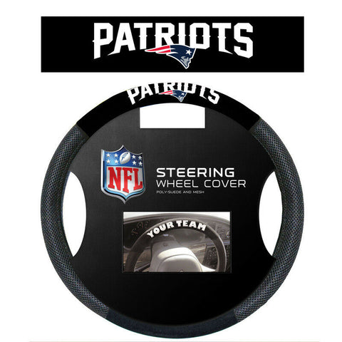 New England Patriots Black Poly-suede & Mesh Steering Wheel Cover