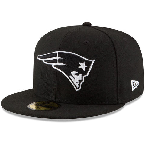 New England Patriots New Era Fitted Black White Logo Cap Hat Black