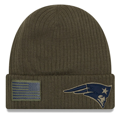 New England Patriots Beanie New Era 2018 Salute To Service Olive Cuffed Knit Hat