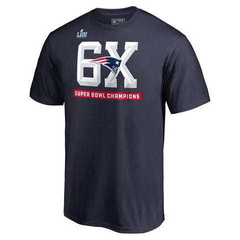 New England Patriots Mens T-Shirt 6X Super Bowl Champions