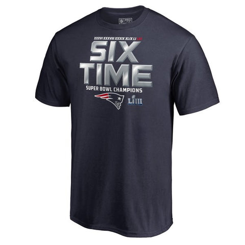 New England Patriots Mens T-Shirt 6-Time Super Bowl Champions Hometown