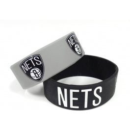 Brooklyn Nets Bulk Bandz Wide Bracelet 2 Pack